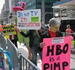 Protestors at HBO