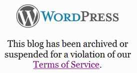 Wordpress suspended message
